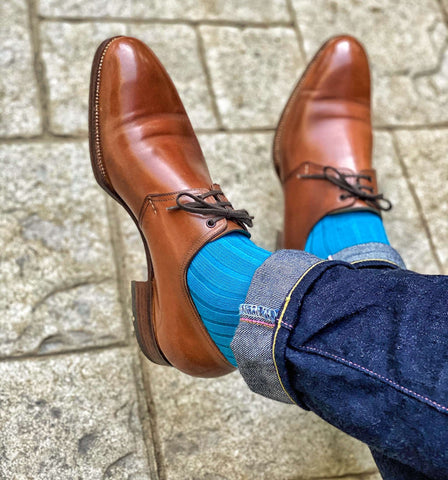 Teal Dress Socks with Light Brown Dress Shoes and Jeans
