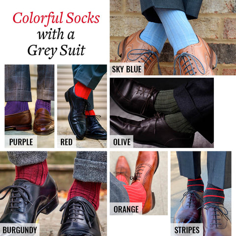 ideas for matching colorful socks with a grey suit