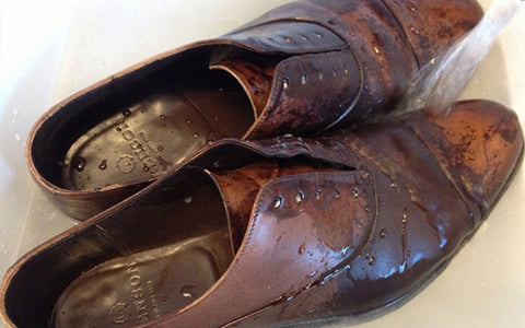 wet leather dress shoes