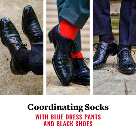 what color socks go with blue dress pants and black shoes