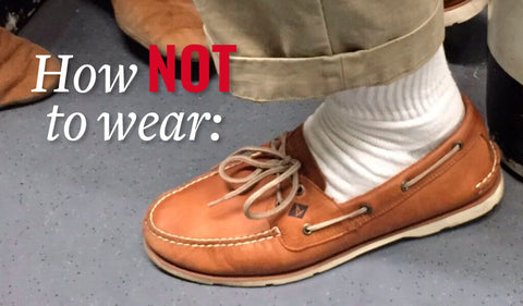 white athletic socks with boat shoes