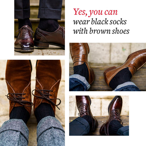 how to wear black dress socks with brown dress shoes