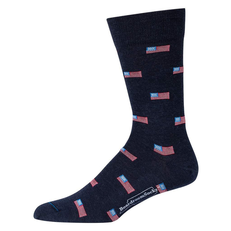 Navy Blue Men's Dress Socks with Small American Flags