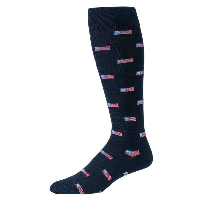 Navy Blue Over the Calf Dress Socks with Small American Flags