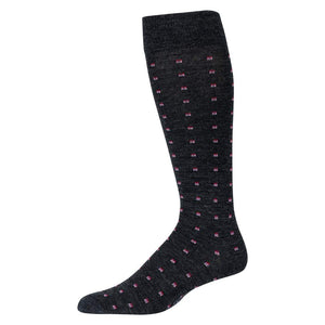 Charcoal Over the Calf Dress Socks Decorated with Small Pink Squares