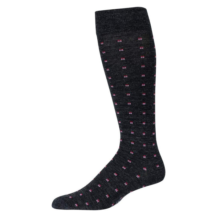 Pink Square Knots on Charcoal Merino Wool Over the Calf Dress Socks
