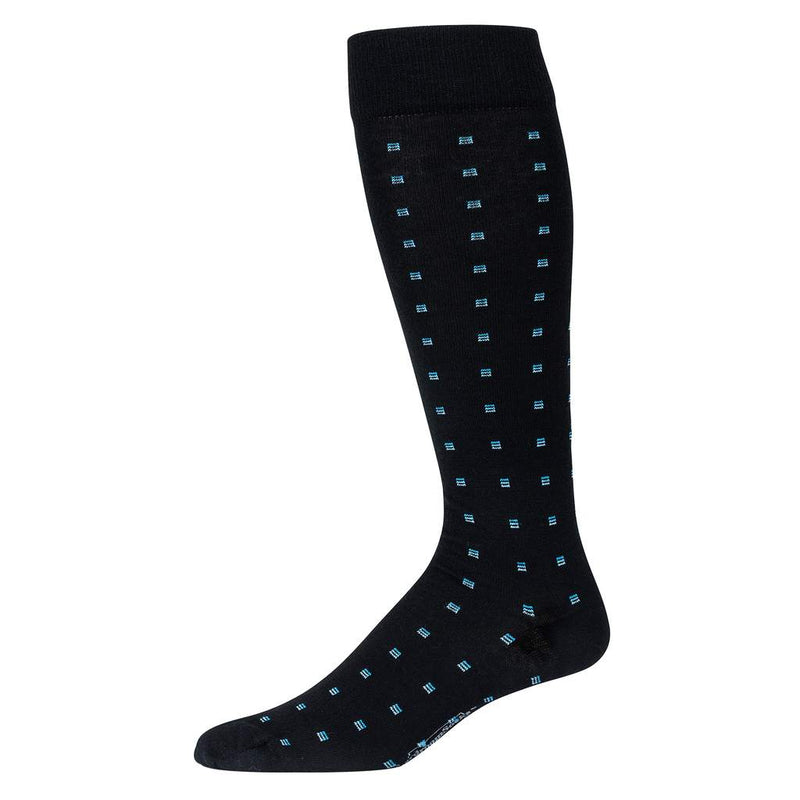 Black Wool Over the Calf Dress Socks Decorated with Light Blue Squares