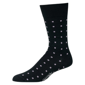 Black Mid-Calf Length Wool Dress Socks Decorated with Purple Squares