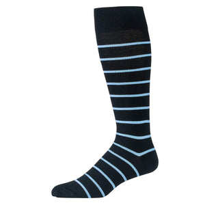 Black Striped Over the Calf Dress Socks