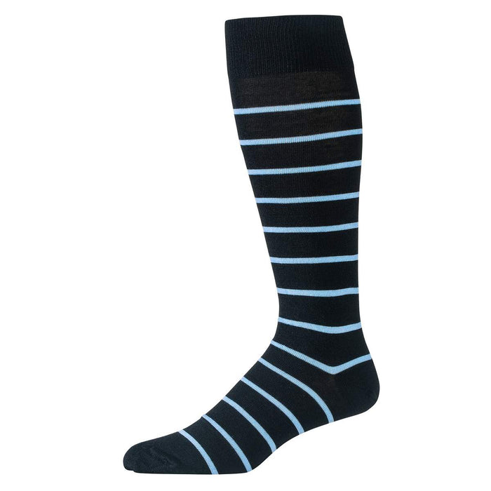 Sky Blue and Black Striped Merino Wool Over the Calf Dress Socks
