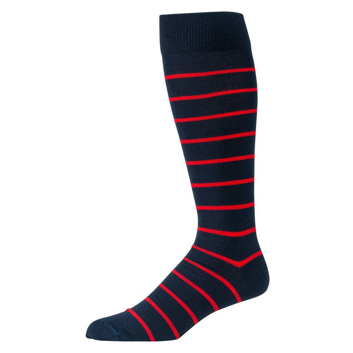 Red and Navy Striped Merino Wool Over the Calf Dress Socks