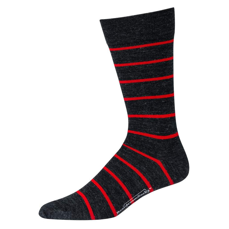 Grey Merino Wool Dress Socks with Red Stripes