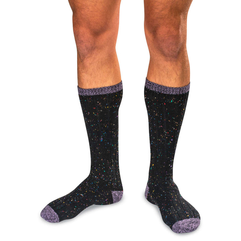 Black Merino Wool Blend Donegal Tweed Socks with Purple Accents