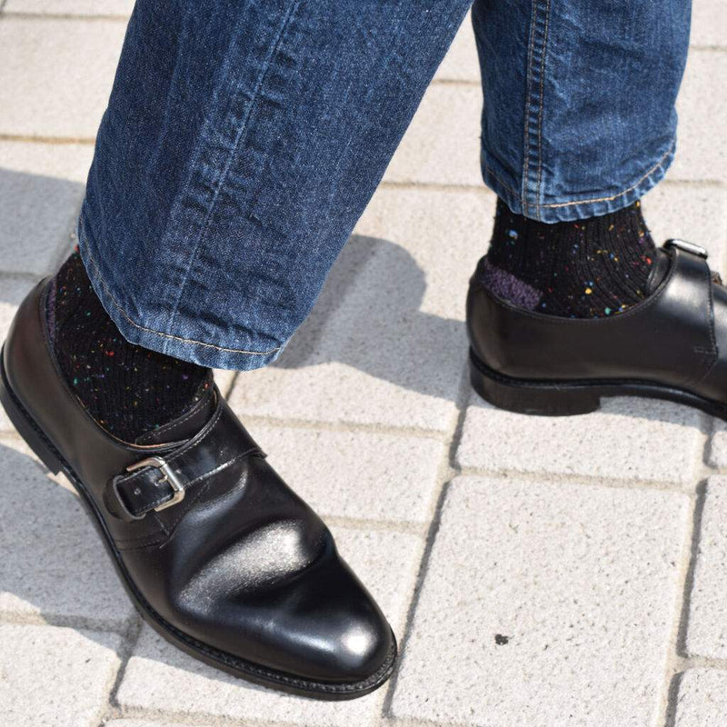 Man Wearing Black Monkstrap Dress Shoes Denim and Black Donegal Wool Socks