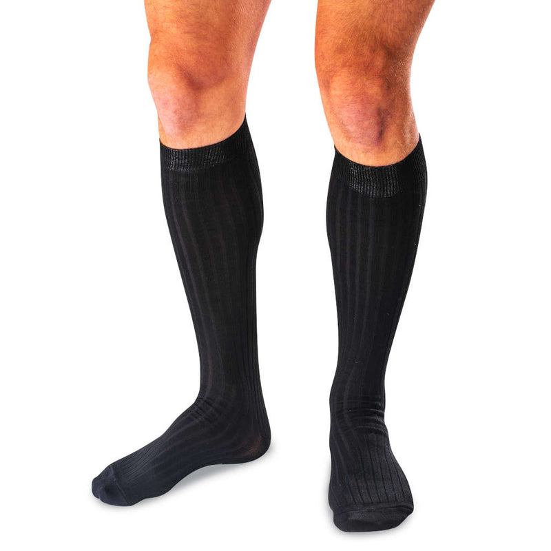 Man Wearing Black Mercerized Cotton Over the Calf Dress Socks