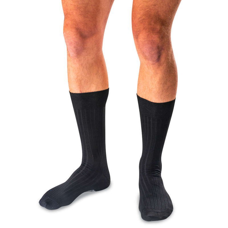 Black Mercerized Pima Cotton Mid-Calf Dress Socks on Model