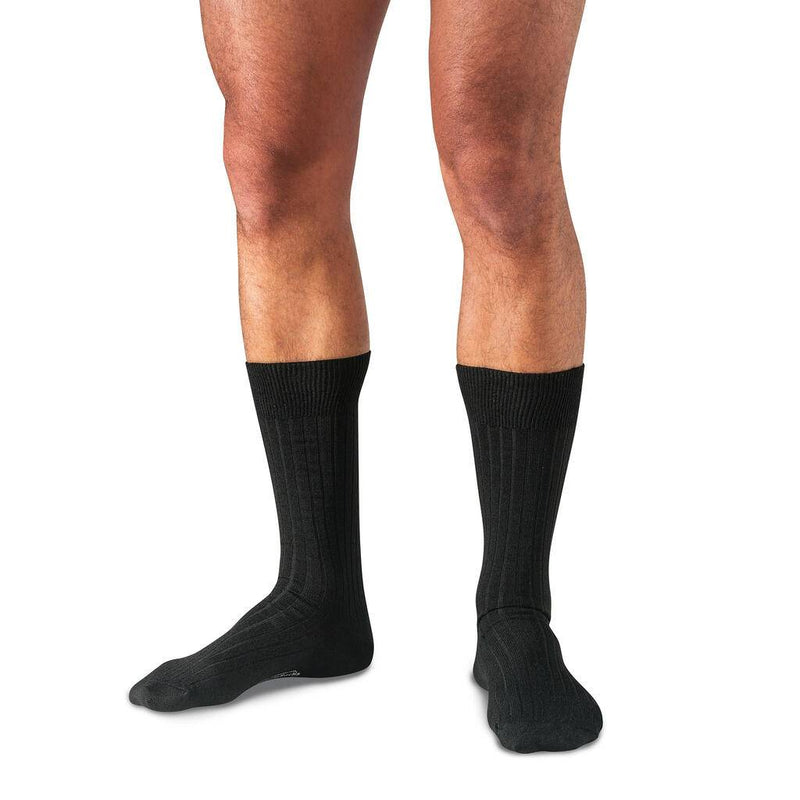 Model Wearing Black Merino Wool Mid-Calf Dress Socks