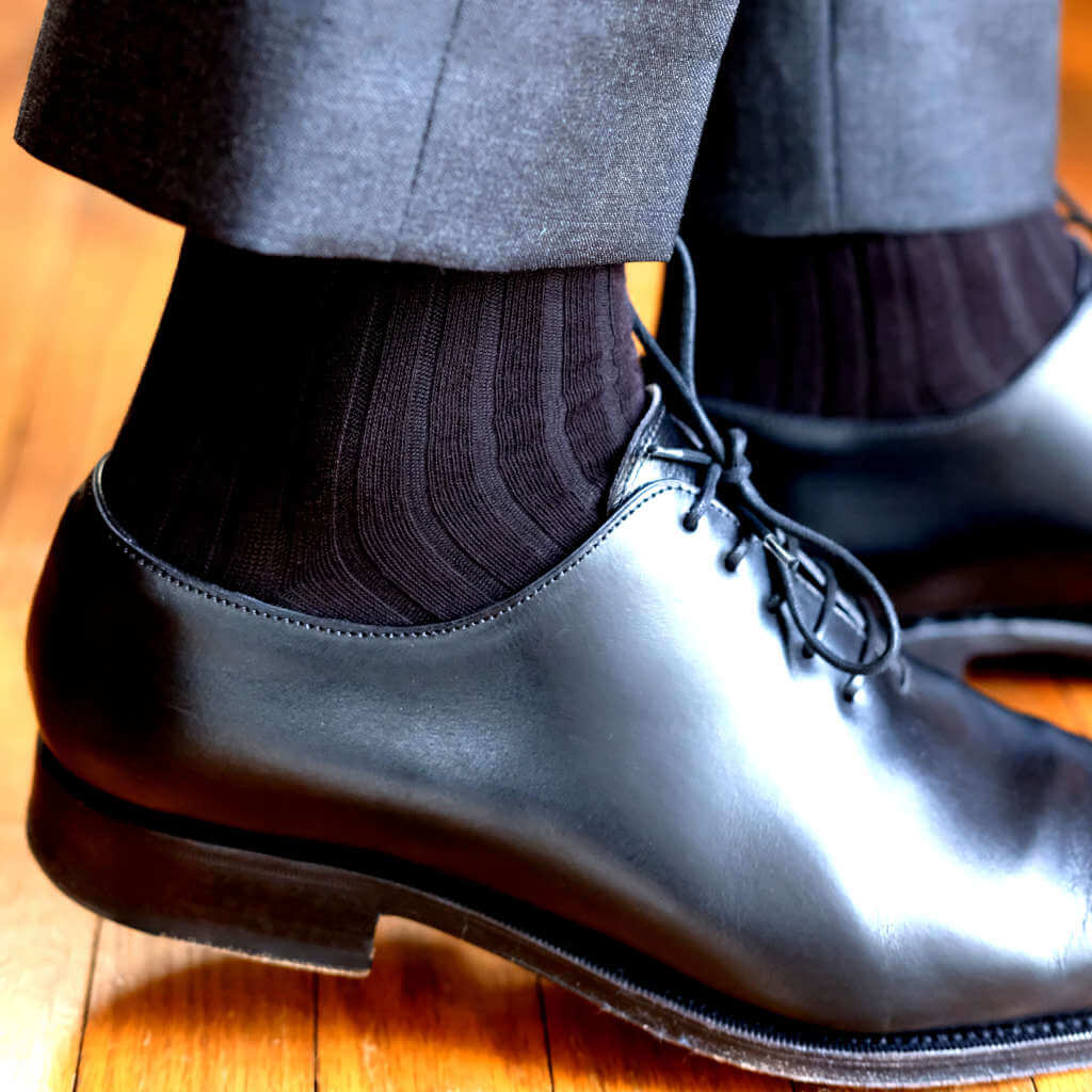 Black Pima Cotton Dress Socks with Charcoal Pants and Black Dress Shoes