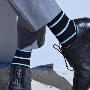 Black Striped Dress Socks with Black Brogues