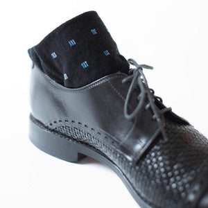 Black and Blue Patterned Dress Socks with Black Dress Shoes