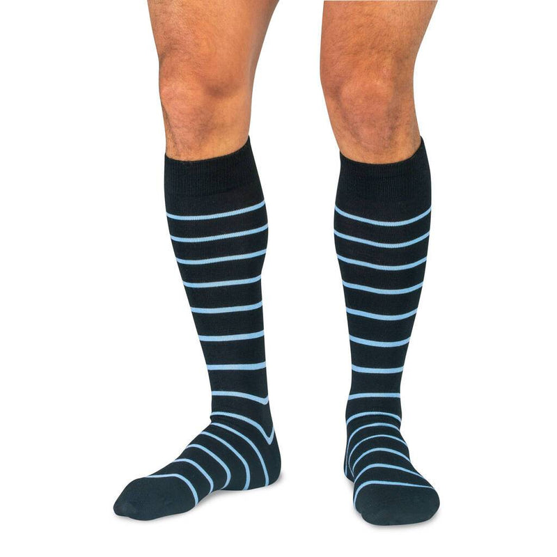 Model Wearing Black Over the Calf Dress Socks with Sky Blue Stripes
