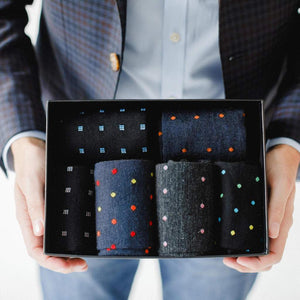 Patterned Dress Socks Gift Box in Hands