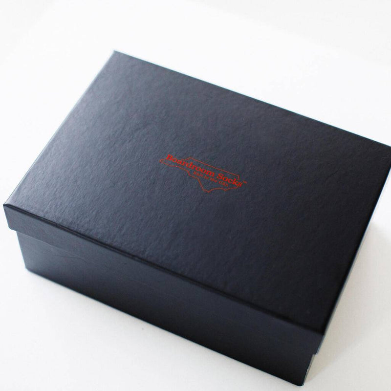 Black Gift Box with Boardroom Socks Logo in Red on Lid
