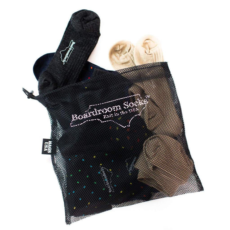 Small Black Mesh Laundry Bag Filled with Dress Socks