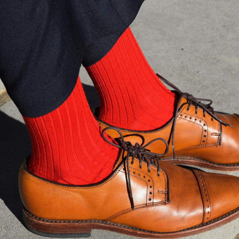 Bright Red Merino Wool Dress Socks with Navy Pants and Light Brown Dress Shoes