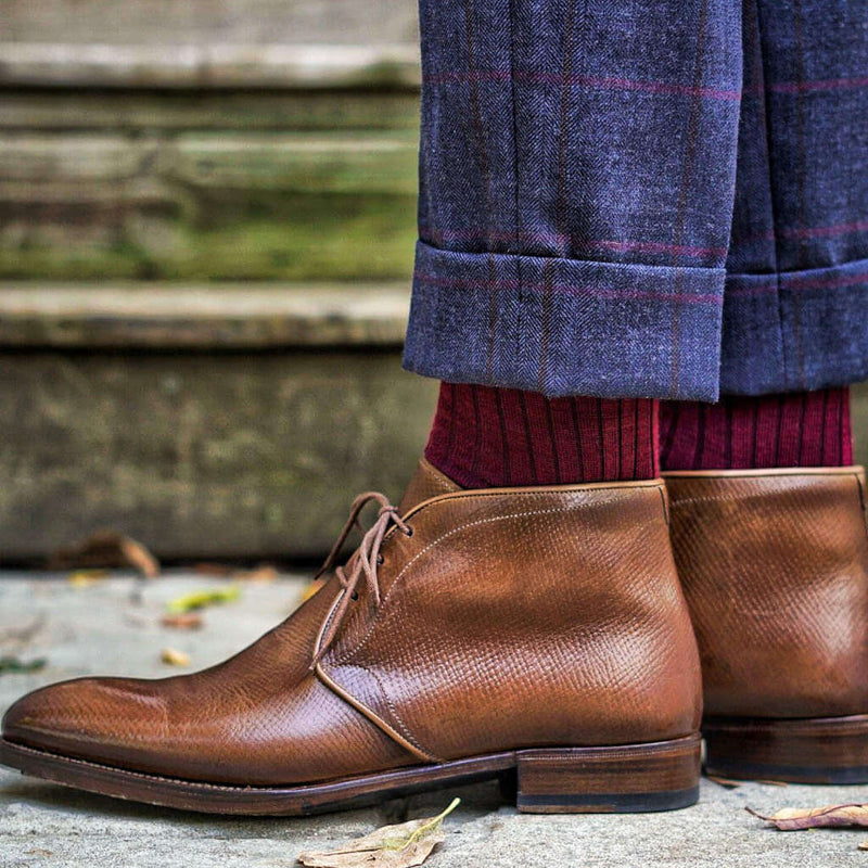 Burgundy Merino Wool Dress Socks with Navy Windowpane Trousers and Brown Chukka Boots