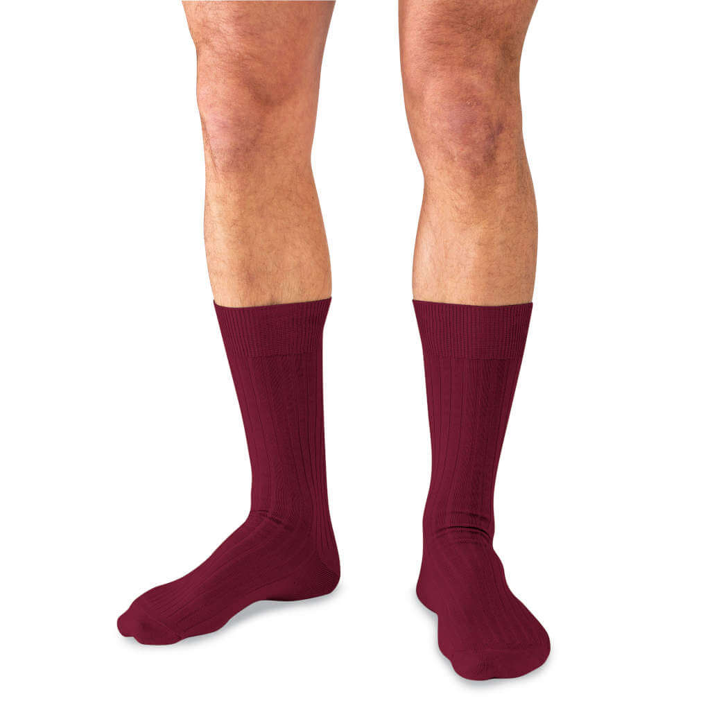 Man Wearing Mid-Calf Length Burgundy Wool Dress Socks