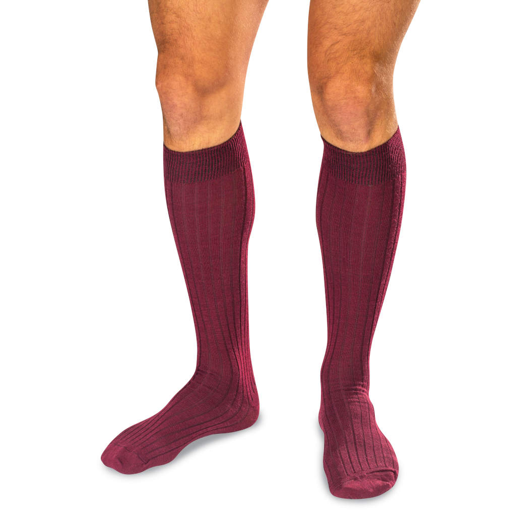 Burgundy Wool Over the Calf Dress Socks on Model