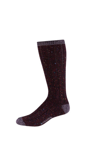 Burgundy Tweed Casual Donegal Wool Sock
