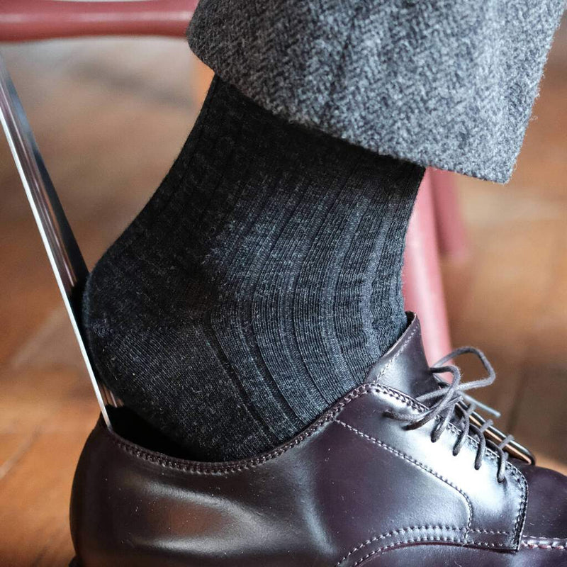 Charcoal Wool Dress Socks with Grey Herringbone Pants and Dark Brown Dress Shoes