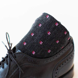Charcoal Patterned Dress Socks with Black Brogues