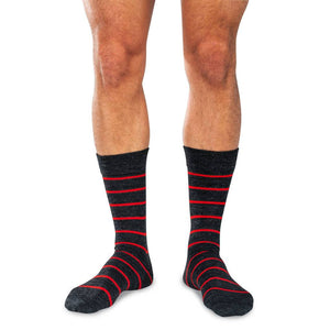 Striped Charcoal Dress Socks on Model