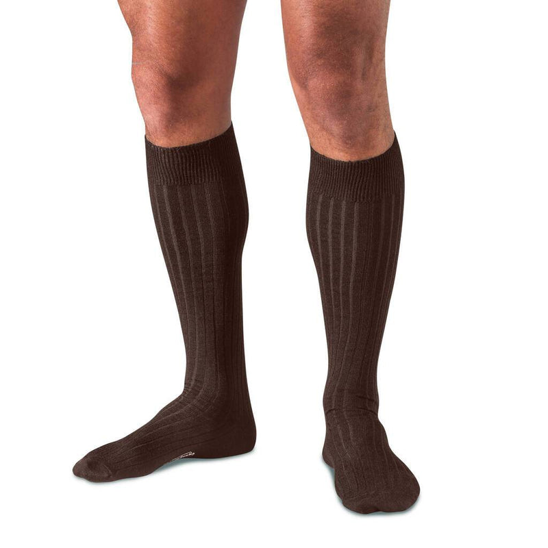 Brown Over the Calf Merino Wool Dress Socks on Model