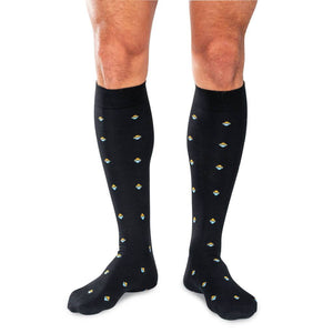 Black Cotton Over the Calf Dress Socks on Model