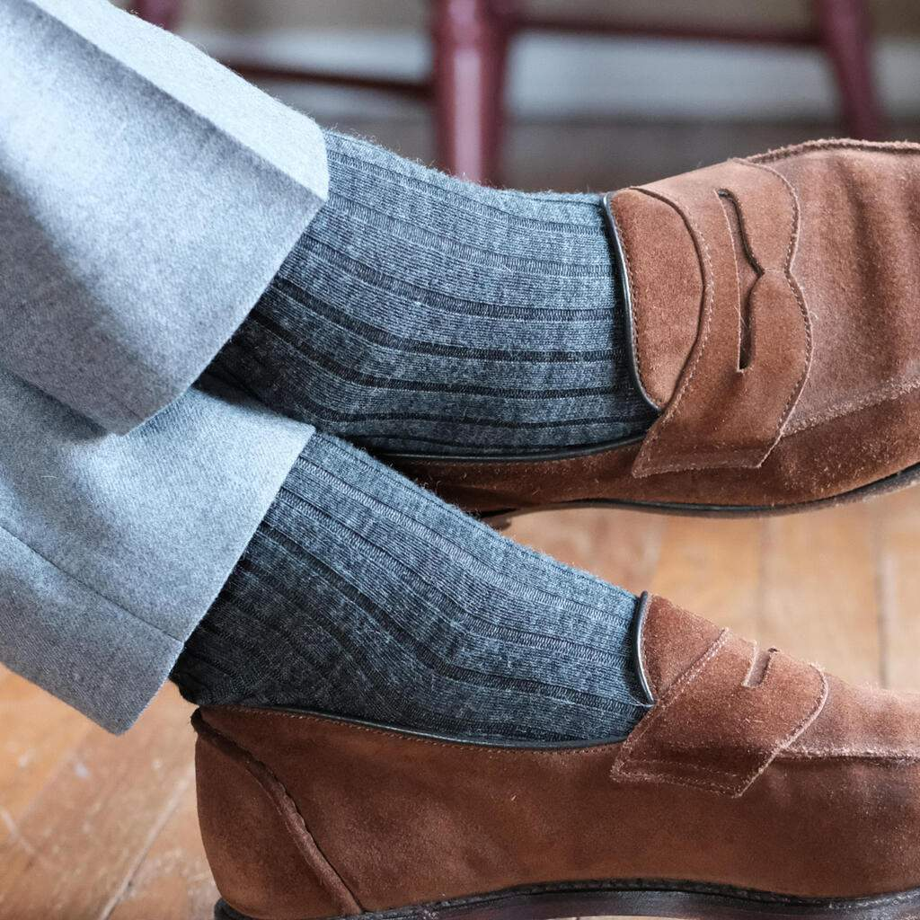 Grey Merino Wool Dress Socks with Brown Suede loafers and light grey pants