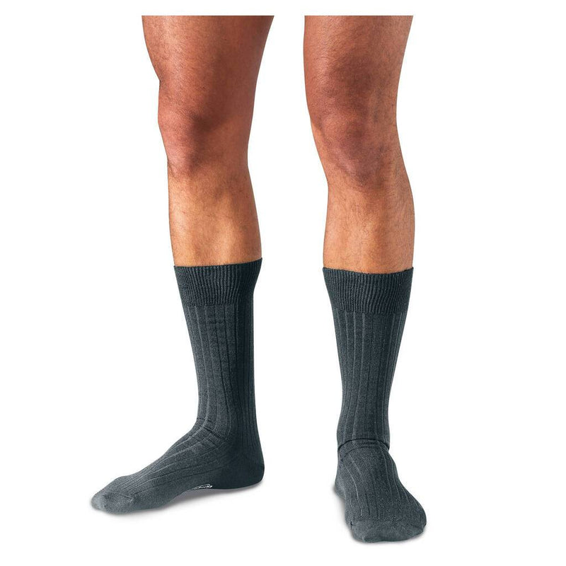 Grey Merino Wool Mid Calf Dress Socks on Model