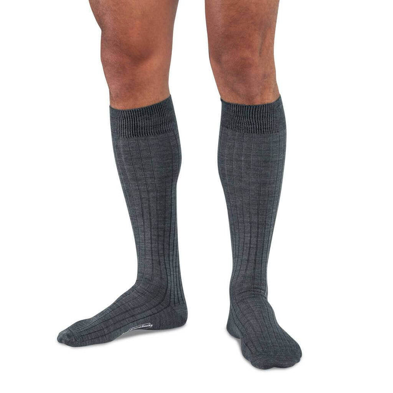 Model Wearing Grey Merino Wool Over the Calf Dress Socks