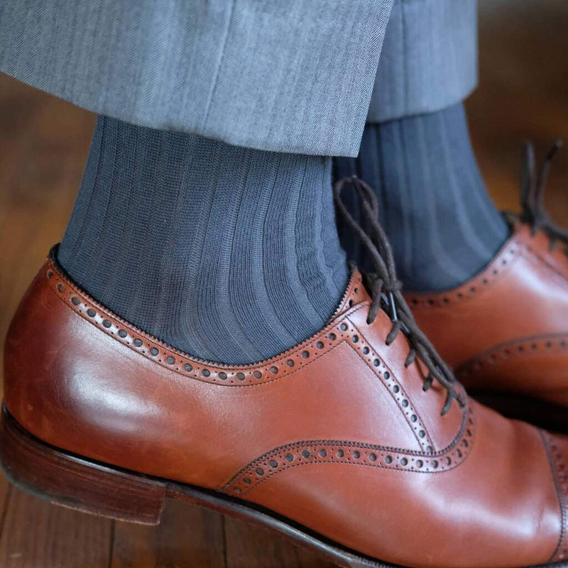 Grey Ribbed Dress Socks with Grey Dress Pants and Brown Dress Shoes