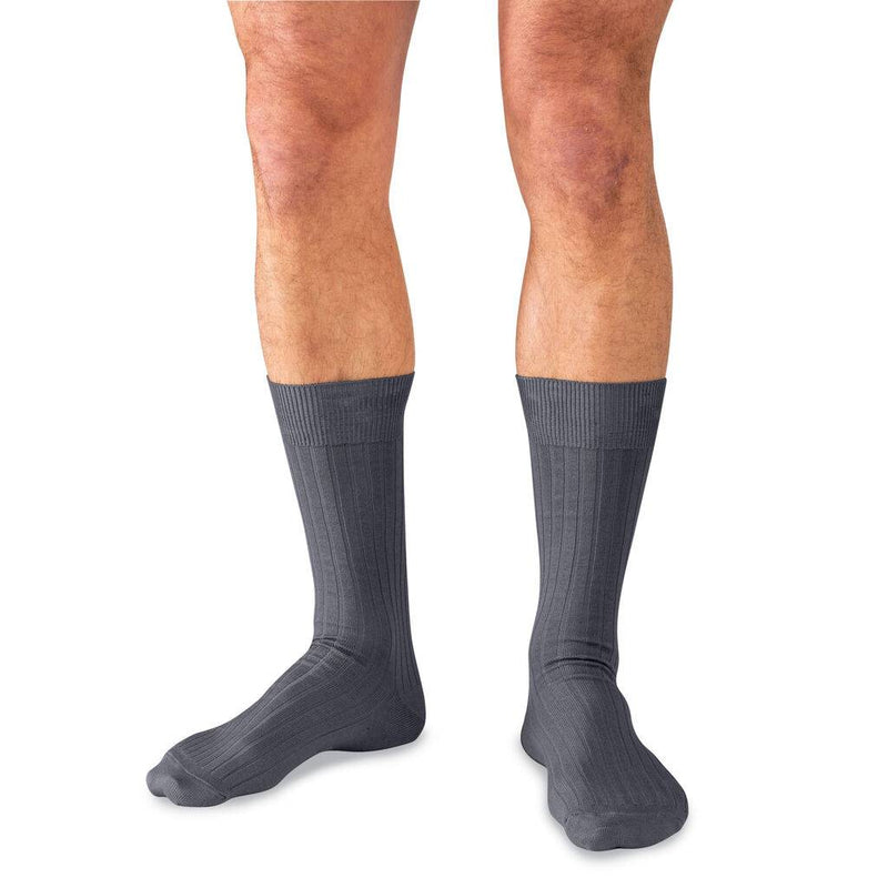 Model Wearing Grey Pima Cotton Mid-Calf Dress Socks