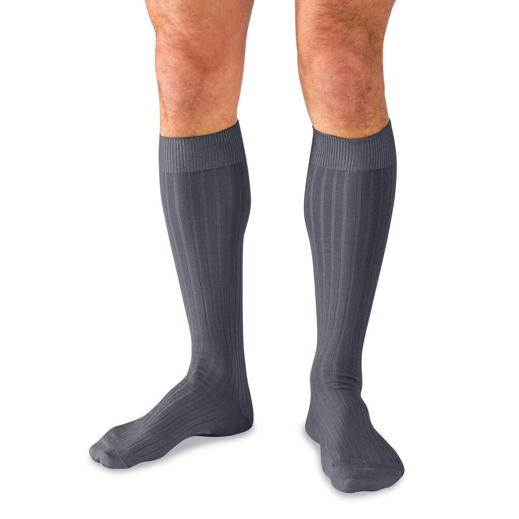Model Wearing Grey Cotton Ribbed Over the Calf Dress Socks