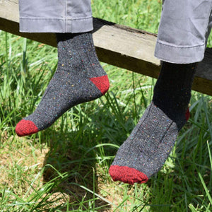Grey Donegal Socks with Grey Trousers