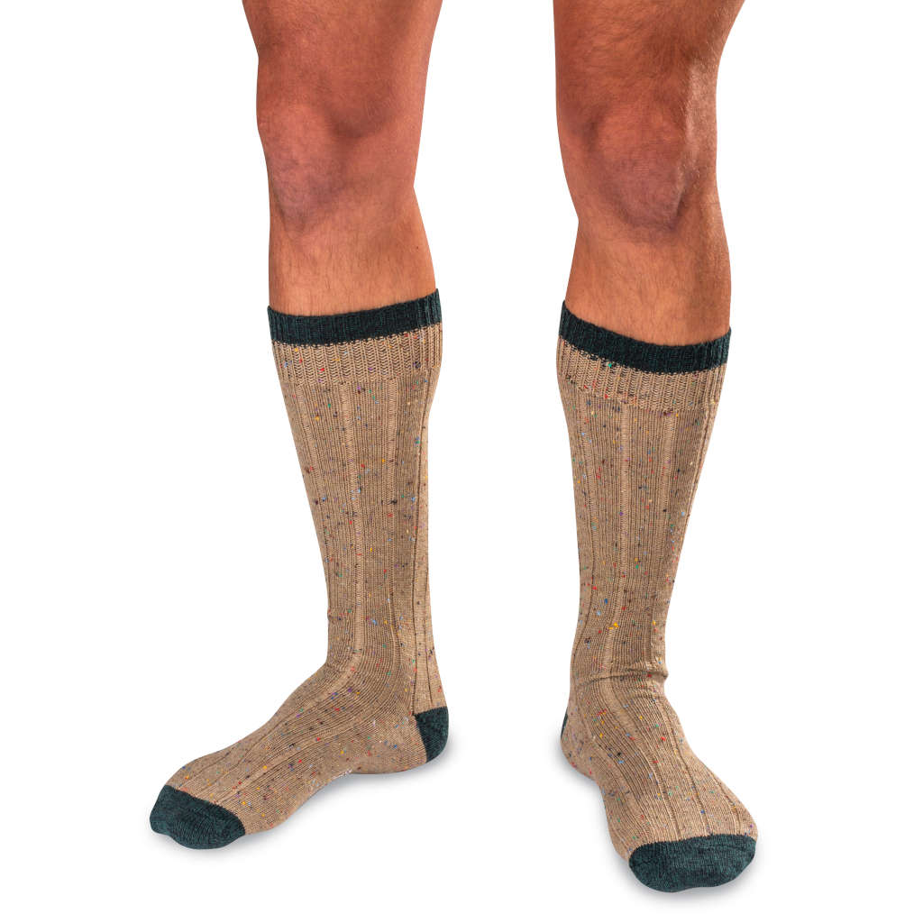 Man Wearing Khaki Wool Blend Donegal Tweed Socks