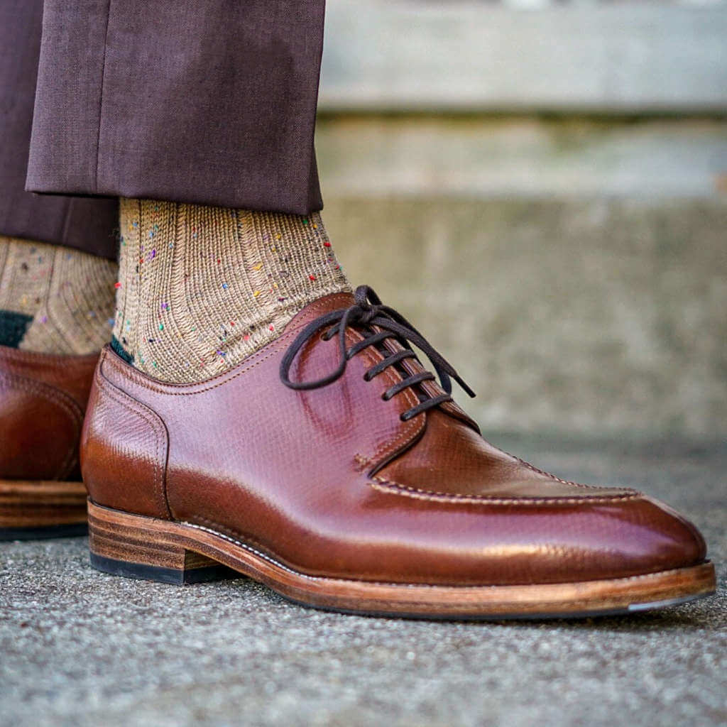 Man Wearing Brown Trousers with Khaki Donegal Wool Socks and Brown Dress Shoes