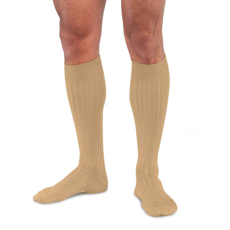 Khaki Merino Wool Over the Calf Dress Socks for Men on Model