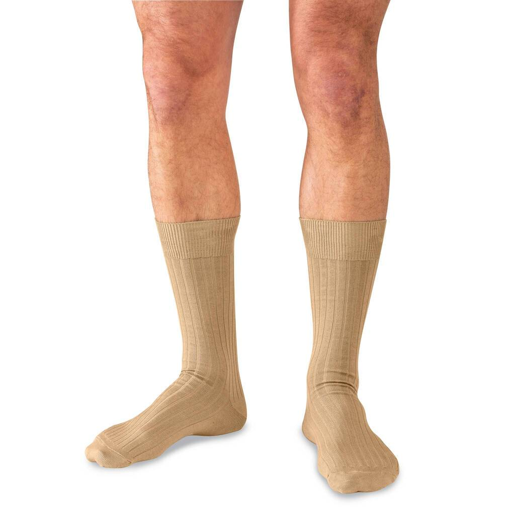 Model Wearing Mid-Calf Length Khaki Cotton Dress Socks