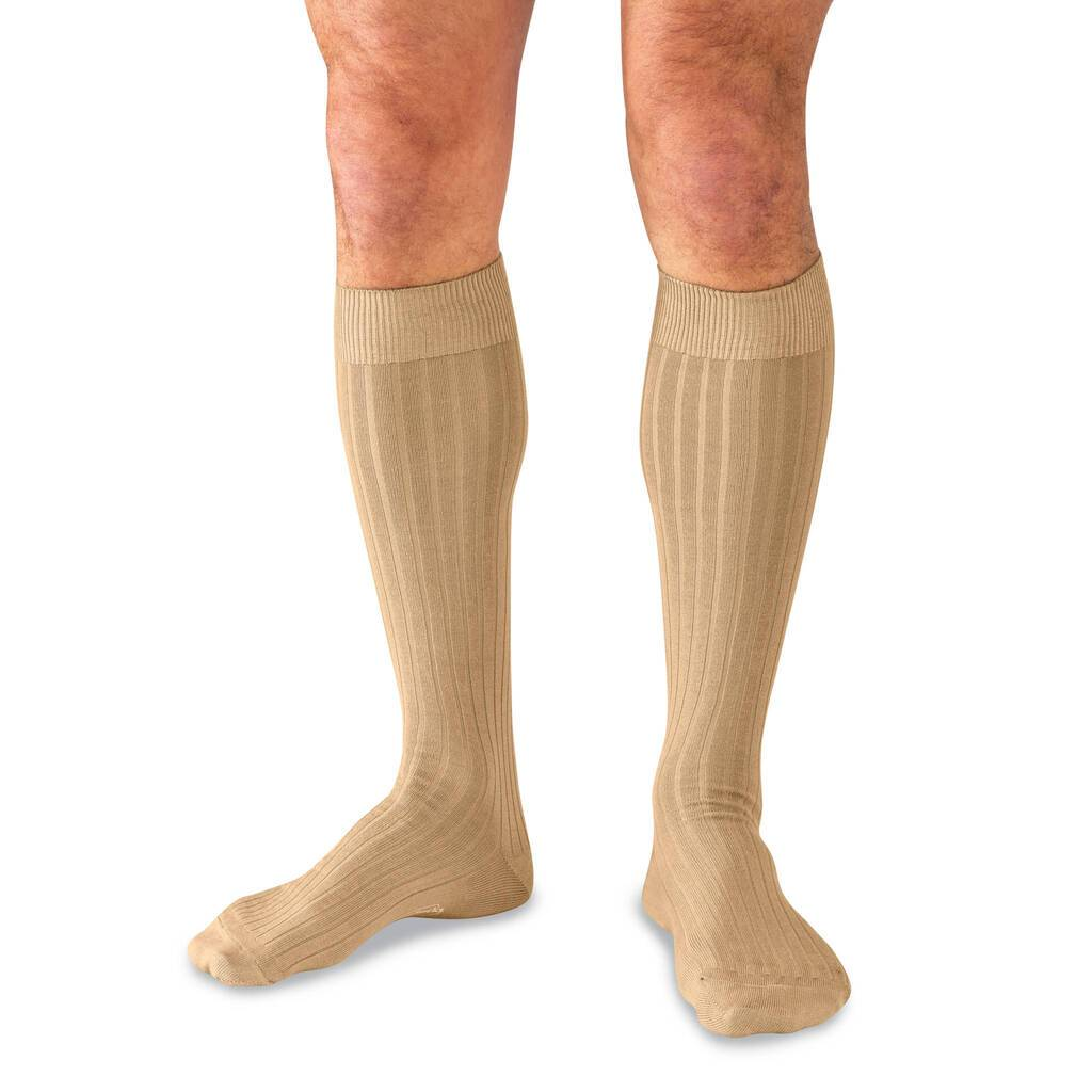 Male Model Wearing Khaki Over the Calf Dress Socks